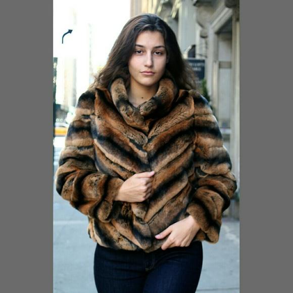 55a7e0fad Whiskey dyed Chinchilla Rex Rabbit Jacket si. Boutique. Marc Kaufman Furs